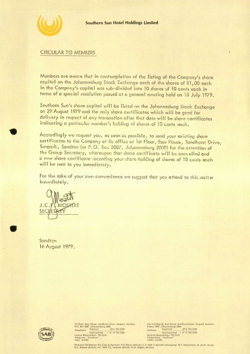 Southern Sun Hotel Holidngs August Circular To Members On Letterhead