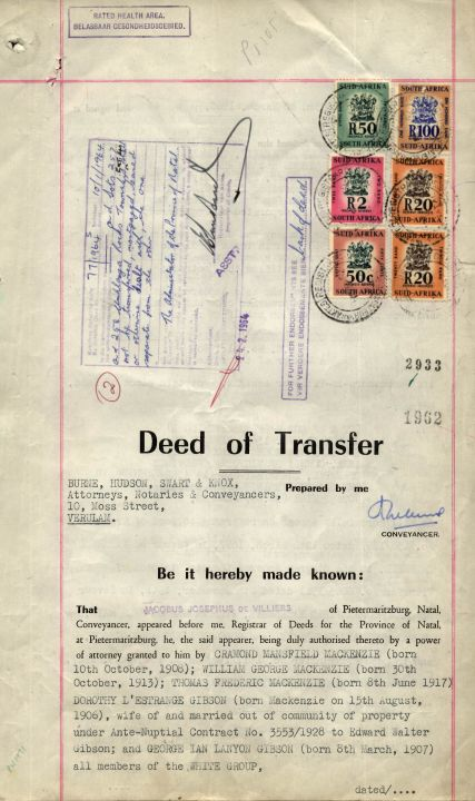 Beverly Hills Deed Of Transfer, Lot A To Z Of Subdivision B1, Lot 31 No. 1560