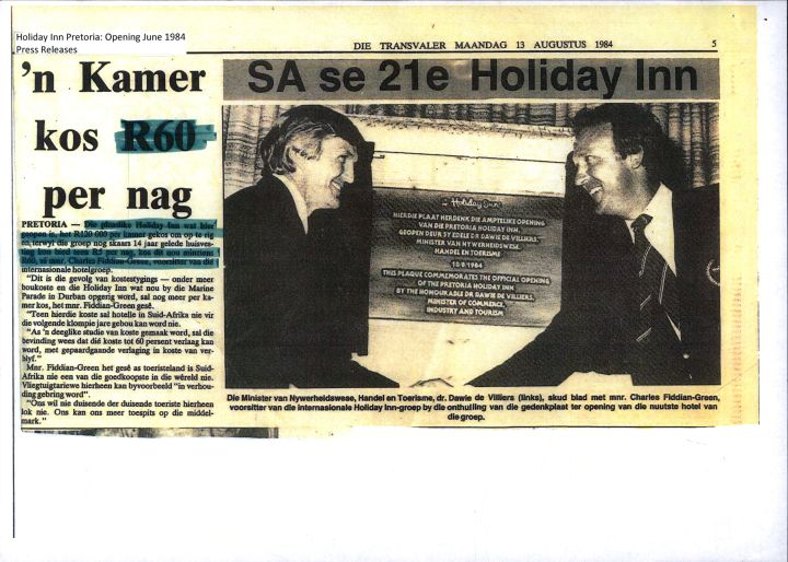 Holiday Inn Pretoria - Opening 1984 Press Release