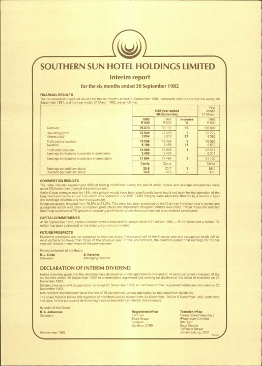 Southern Sun Hotel Holdings Interim Report At 30 Sept. 1982