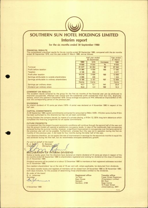Southern Sun Hotel Holdings Limited - Interim Report 30 Sept 1980