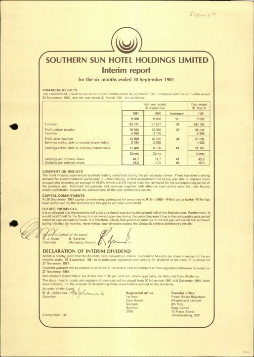 Southern Sun Hotel Holdings Limited, Interim Report 30 Sept